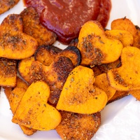 Spicy Valentine's Day Roasted Sweet Potato Hearts