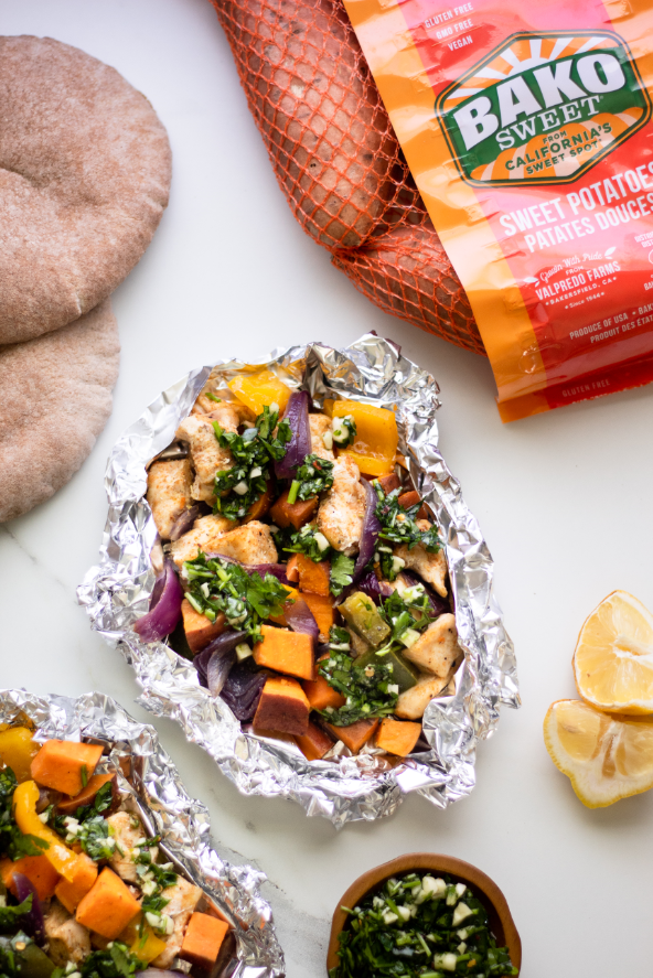 Grilled Chicken and Sweet Potato Foil Packets with Chimichurri Sauce